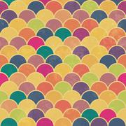 Asian fish scale retro pattern. Colorful, grunge and seamless. Grunge effects - stock illustration