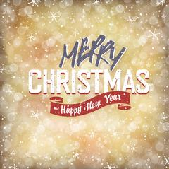 Stock Illustration of Xmas Lights Background with Merry Christmas Lettering