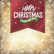 Merry Christmas Lights Background with Christmas Lettering - stock illustration