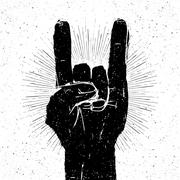 "Grunge ""rock on"" gesture illustration. Template for your slogan, text, etc. - stock illustration"