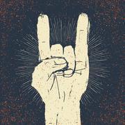 "Grunge ""rock on"" gesture illustration. Template for your slogan, text, etc. Stock Illustration"