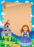Stock Illustration of Parchment with princess near castle - eps10 vector illustration.