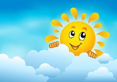 Cloudy sky with lurking sun - eps10 vector illustration. - stock illustration