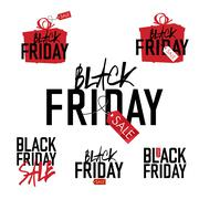 Stock Illustration of Black Friday sales Advertising Labels Collection.