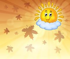 Autumn sky with cheerful sun - eps10 vector illustration. Stock Illustration
