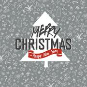 Merry Christmas Greeting Card on Xmas Hand Drawn Background - stock illustration