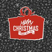 Merry Christmas Lettering on Red Gift Box Silhouette. On hand drawn xmas back - stock illustration