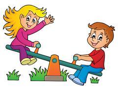 Children on seesaw theme image - eps10 vector illustration. - stock illustration