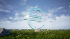 Euro Sign On Green Field 1 - stock footage