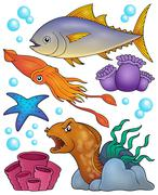 Ocean fauna topic set - eps10 vector illustration. - stock illustration