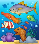 Ocean fauna topic image - eps10 vector illustration. - stock illustration