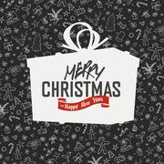 Merry Christmas Lettering on Gift Box Silhouette. On hand drawn xmas backgrou - stock illustration