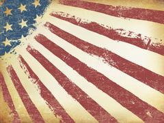 Grunge Aged American Flag Background. Horizontal orientation, vector Template Stock Illustration