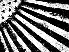 Monochrome Negative Photocopy American Flag Background. Grunge Aged VectorTem Stock Illustration