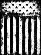 Stars and Stripes. Monochrome Negative Photocopy American Flag Background. Gr - stock illustration