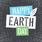Happy Earth Day. Grunge lettering with Leaf Symbol.Textured layers easily rem - stock illustration
