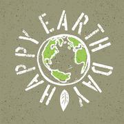 Happy Earth Day. Grunge lettering with Earth symbol Stock Illustration