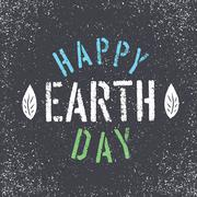 Happy Earth Day. Grunge lettering with Leaf symbol. Stencil grunge alphabet.  Stock Illustration