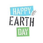 Happy Earth Day. lettering with Leaf Symbol. Isolated logo design Stock Illustration