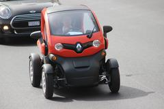 Red Electric Car Renault Twizy in Monte-Carlo, Monaco - stock photo