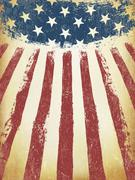 Grunge Aged American Flag Background. Vector Template. Stock Illustration