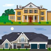 Luxury house exterior vector illustration in flat style design. Home facade and - stock illustration