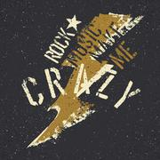 Rock music make me crazy. Grunge lettering with thunderbolt and star. Stencil Stock Illustration