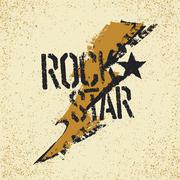 Rockstar. Grunge lettering with thunderbolt symbol. Tee print design template Stock Illustration