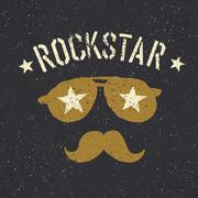 Rockstar. Sunglasses with stars and moustache with lettering. Tee print desig Stock Illustration