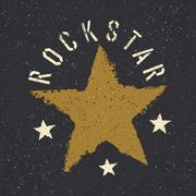 Rockstar. Grunge star with lettering. Tee print design template - stock illustration