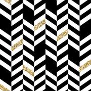 Seamless Chevron Pattern with Glittering Gold Elements - stock illustration