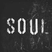 """Soul"" in stencil letters on a grunge black background - stock illustration"