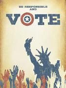 Be responsible and Vote! On USA map. Vintage patriotic poster to encourage vo - stock illustration