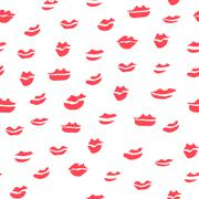Seamless Many Red Lips Pattern Stock Illustration