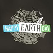 Happy Earth Day Poster. Tree rings symbolic illustration on the recycled pape - stock illustration