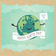 "Cartoon Earth Illustration. Planet smile and hold banner with ""Save Me"" words - stock illustration"