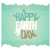 Vintage Earth Day Poster. Rays, leaves, clouds, sky. On old paper texture. Gr - stock illustration