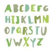 Leaf Cut Alphabet. Easy edited colors of letters. Capital letters. Each lette - stock illustration