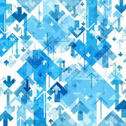 Blue Arrows Chaotic Pattern. Abstract background - stock illustration