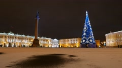 Palace Square at winter night, bright buildings illumination, new year time Stock Footage