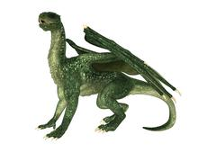 3D Illustration Fantasy Dragon on White - stock illustration