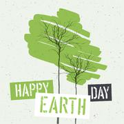 Typographic design for Earth Day. Concept Poster With Green Leaves. Vector Te Stock Illustration