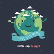 "Earth day, 22 April. ""Save our home"". Cartoon Earth illustration. Ecology con Stock Illustration"