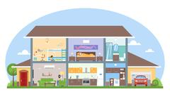 Home interior with room furniture vector illustration. Detailed modern house in Stock Illustration