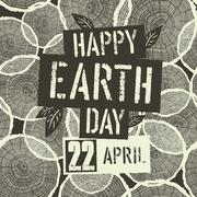 Happy Earth Day Logotype with 22 April date on Tree Rings Seamless Background Stock Illustration