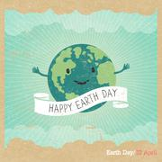 """Cartoon Earth Illustration. Planet smile and hold banner with """"Save Me"""" words Stock Illustration"""