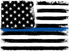 American Flag with Thin Blue Line. Grunge Aged Background. Monochrome gamut.  Stock Illustration