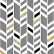 Seamless Chevron Pattern. Art Deco Abstract Background. Glittering Gold Foil Stock Illustration