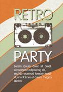 Retro music party poster design. Disco music vintage party invitation templat Stock Illustration