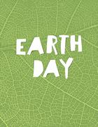 """Nature background with """"Earth day"""" headline. Green leaf veins texture. Paper  Stock Illustration"""